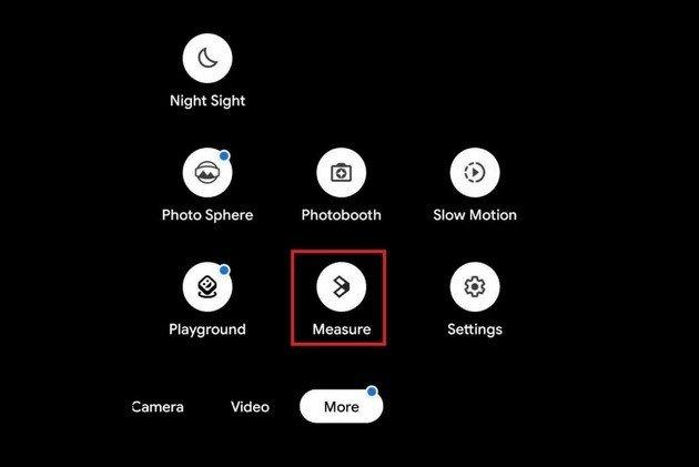 Google Measure nas definições da Google câmara