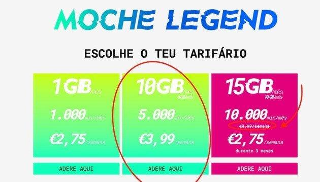 Moche tarifário concorrente Yorn Vodafone