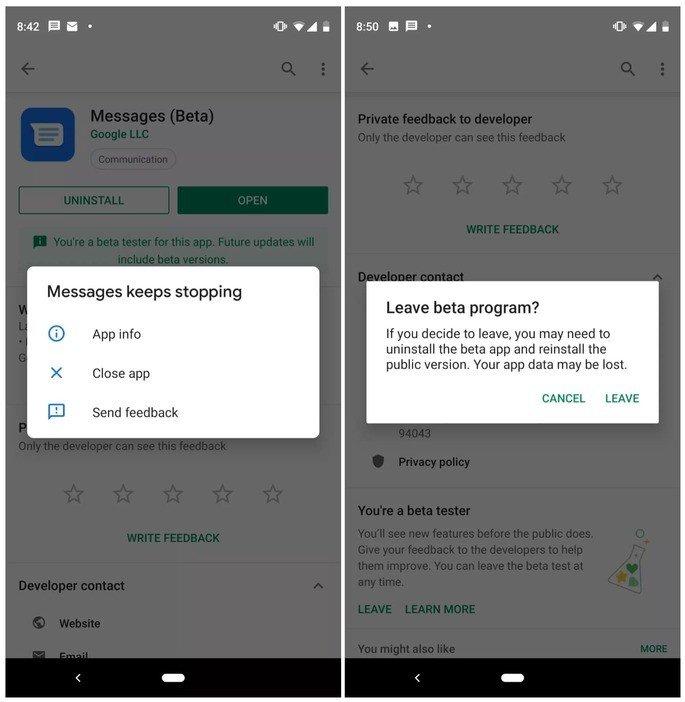 Problemas nas mensagens Android