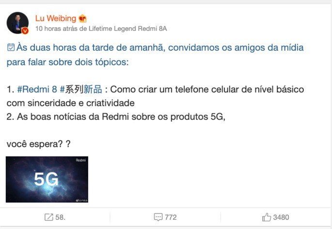 CEO da Xiaomi refere o Xiaomi Redmi K30