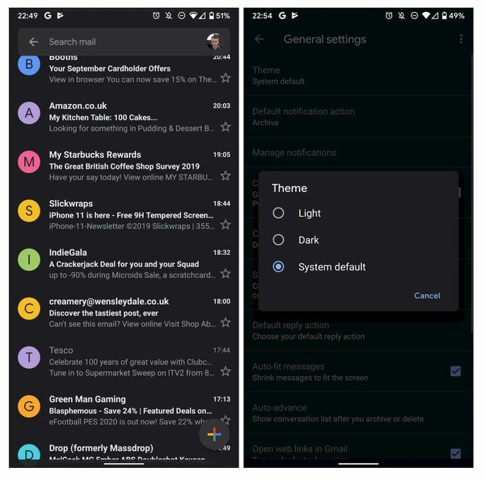 Dark Mode Google Gmail