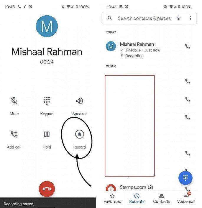 Chamadas telefone Google gravação
