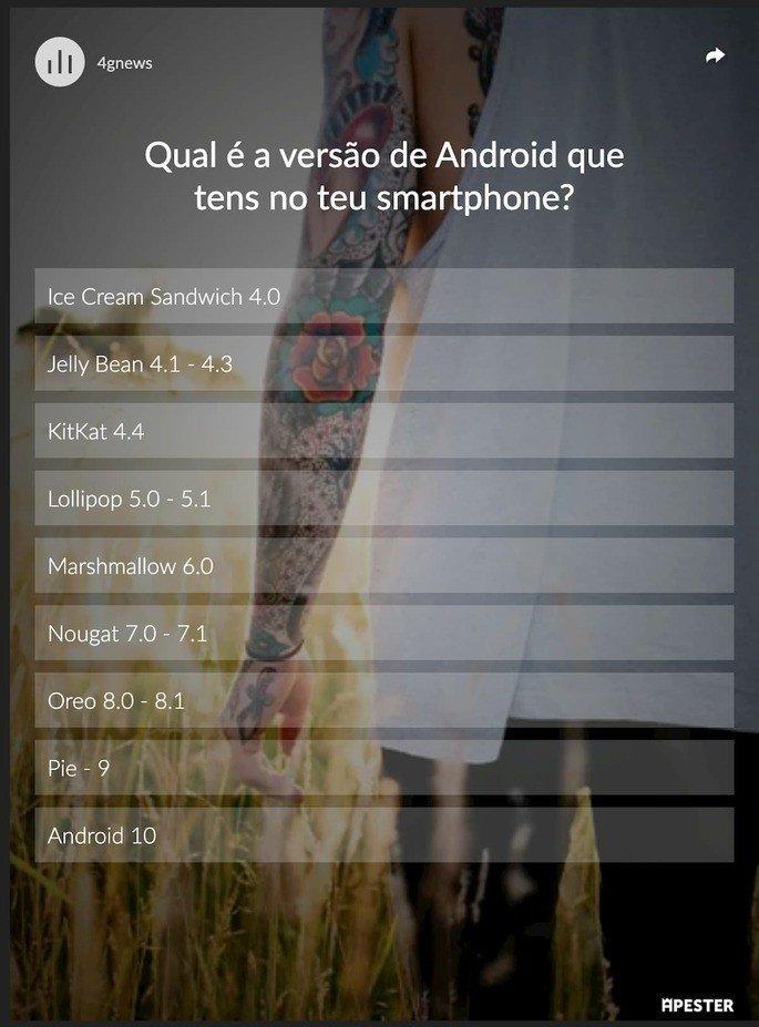 Qual é a versão de Android que tens no teu smartphone?