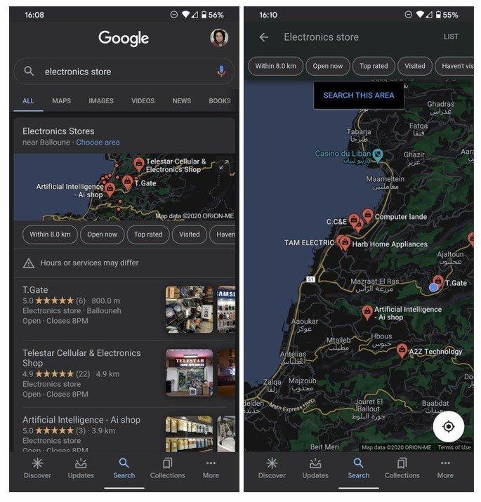 Pesquisa Google Dark Mode