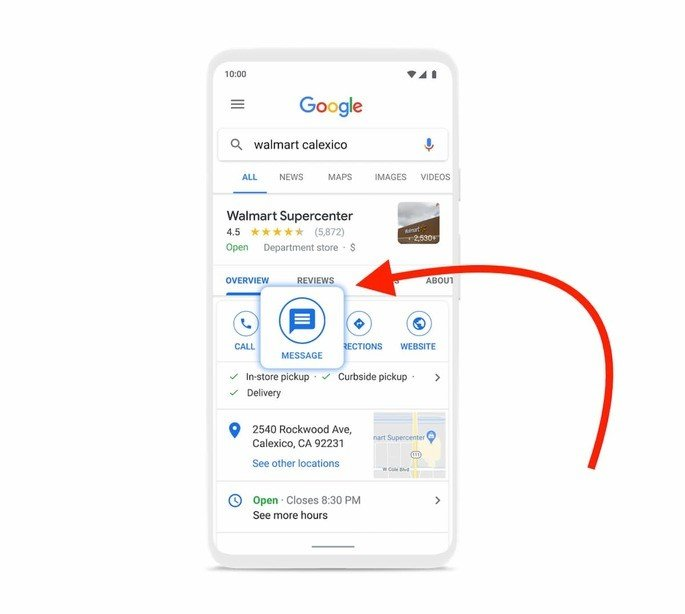 Google business messages Google search