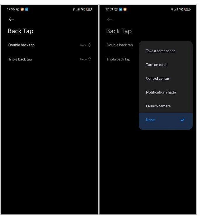 Xiaomi MIUI 12 Back Tap
