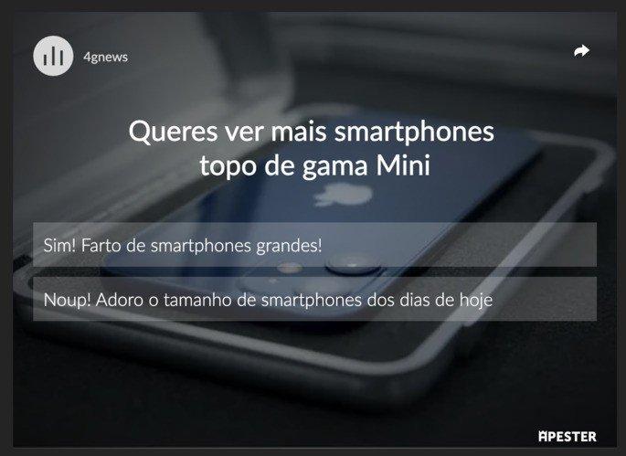 Sondagem smartphones iPhone 12 Mini