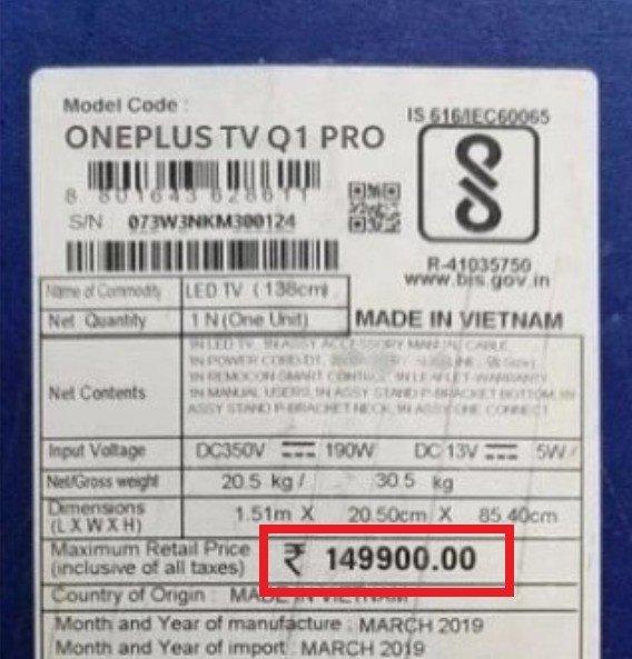 oneplus tv preço