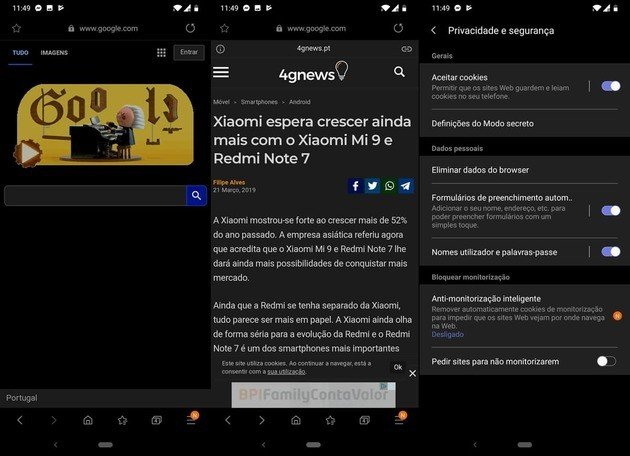Samsung internet novo design dark Mode