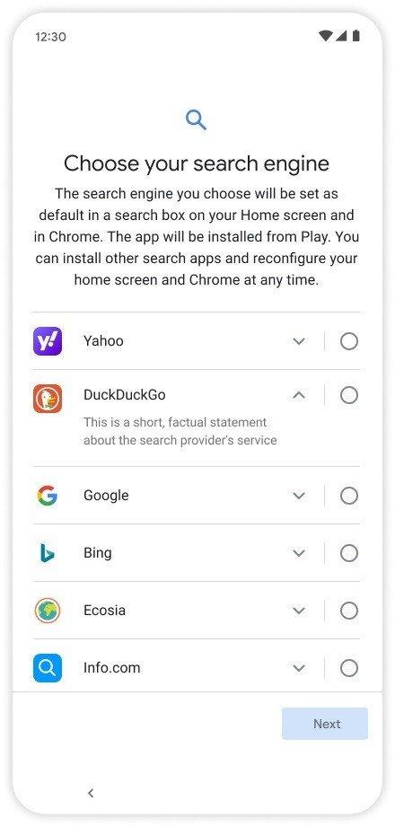 Motores de busca Android