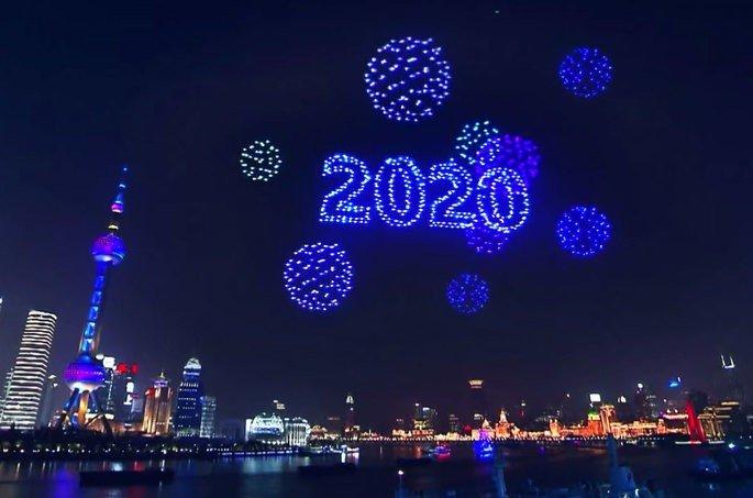 Shangai drones fogo de artifício