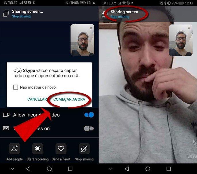 Skype Partilha de ecrã Android