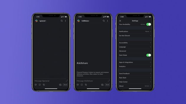 slack dark mode ios android