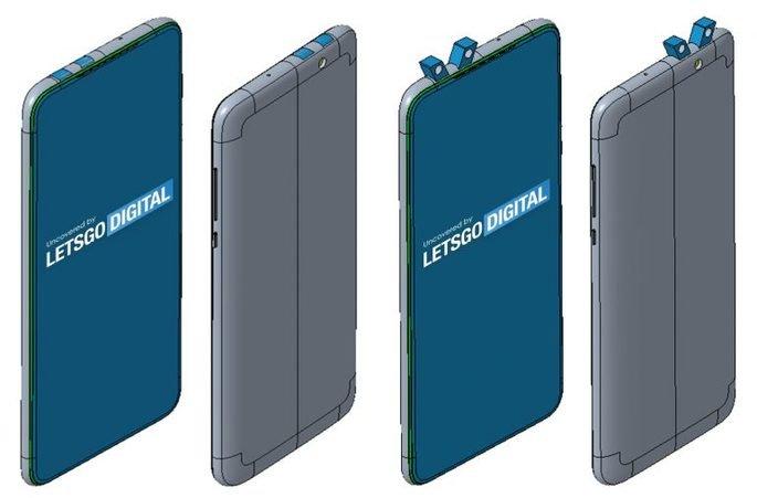 Patente da Xiaomi mostra mecanismo pop-up para câmaras frontais e traseiras. Crédito: LetsGoDigital