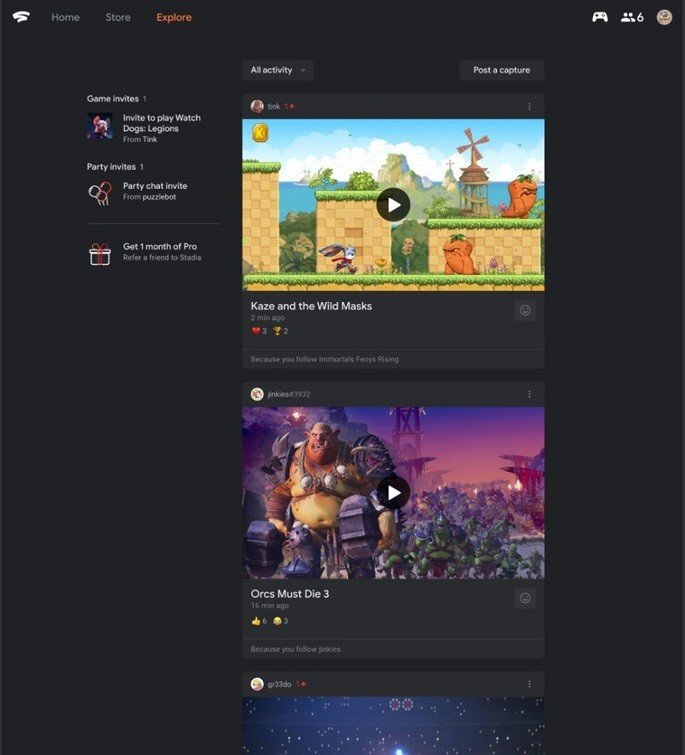 Google Stadia feed