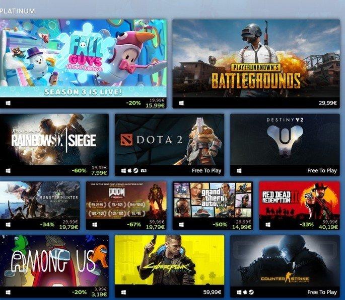 Jogos Mais Vendidos na Steam em 2020