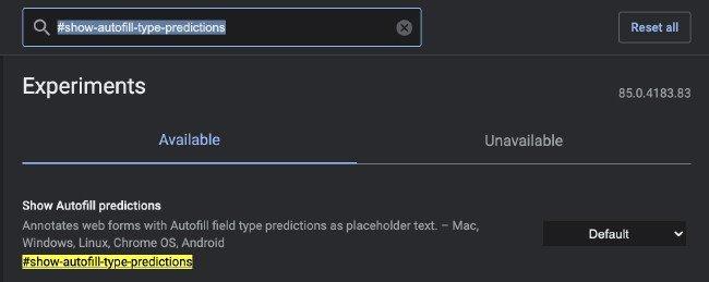 Sugestões de preenchimento automático no Google Chrome