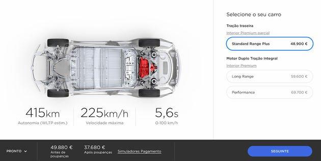 tesla model 3 standar range plus preço portugal