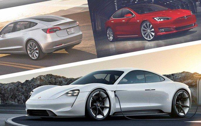 Tesla Model S Plaid Mode Porsche Taycan