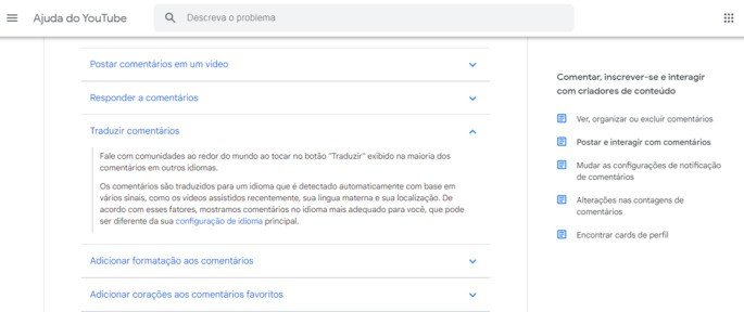 Página Ajuda YouTube