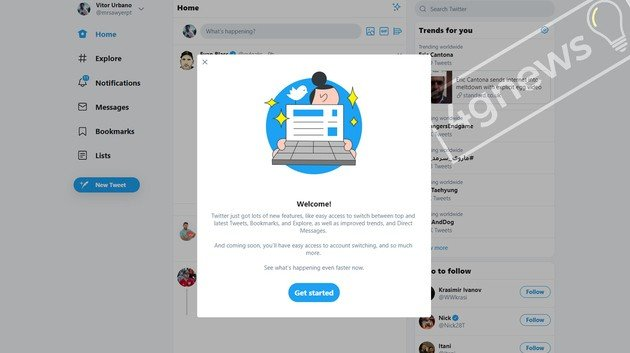 Twitter novo Visual