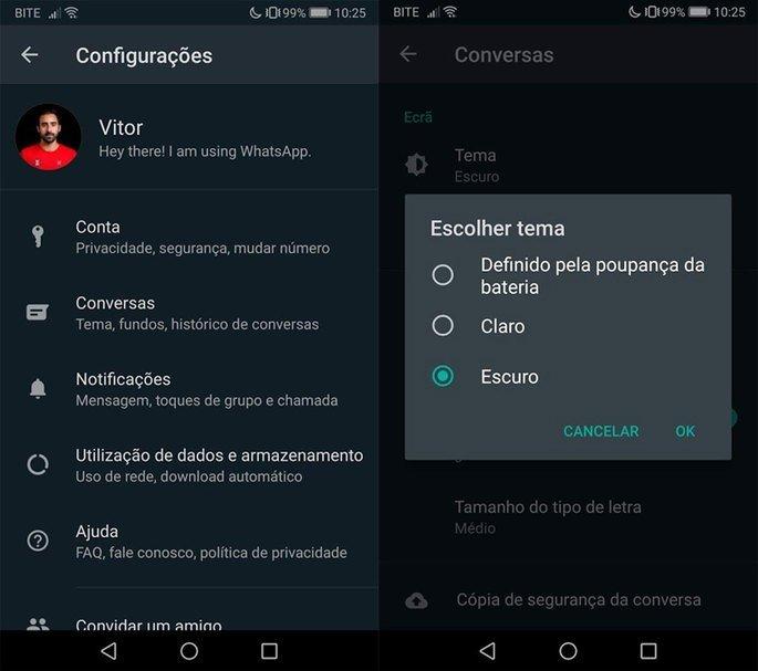 WhatsApp Dark Mode como ativar