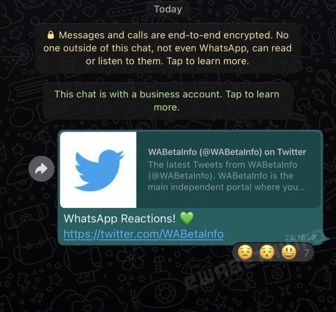 Reações de mensagens com emojis em desenvolvimento no WhatsApp. Crédito: WABetaInfo