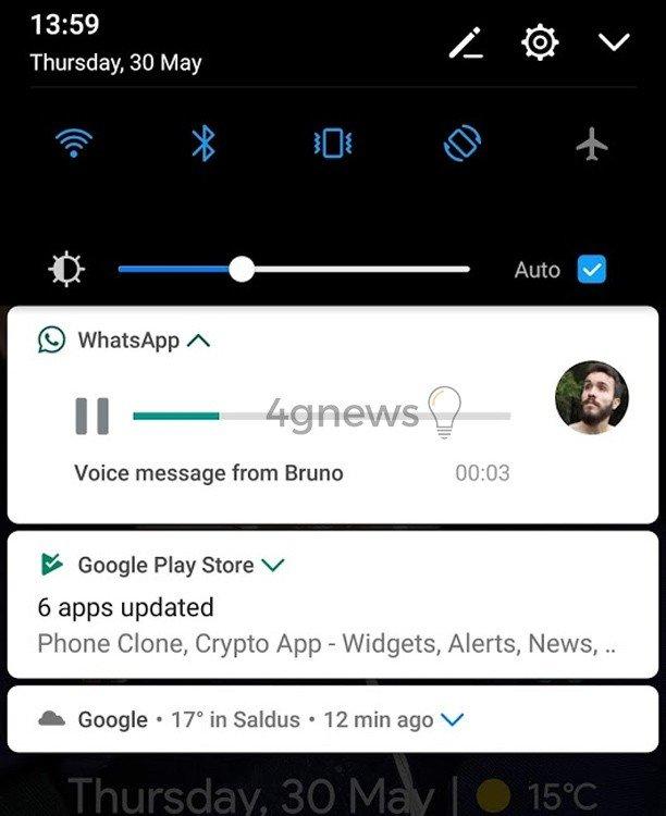 WhatsApp mensagem de voz notificação