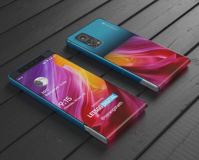 Patente da Xiaomi de smartphone com ecrã flexível. Renderizações: LetsGoDigital