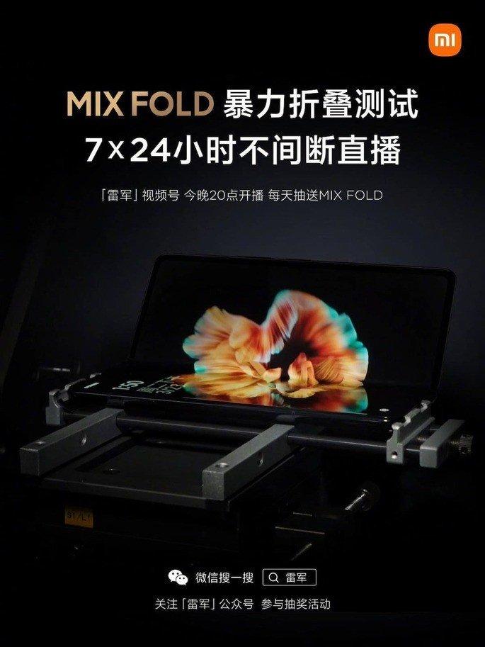 Xiaomi Mi MIX Fold em teste de dobragem durante uma semana. Prova será transmitida ao vivo