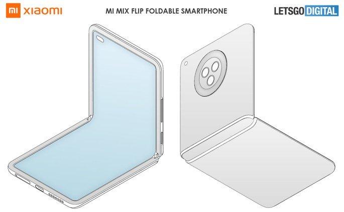 Patente de smartphone dobrável em formato concha da Xiaomi. Crédito: LetsGoDigital