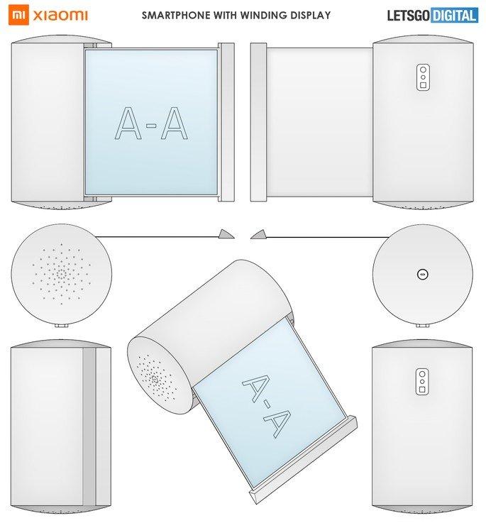 Patente de smartphone da Xiaomi que mais parece uma coluna inteligente. Crédito: LetsGoDigital