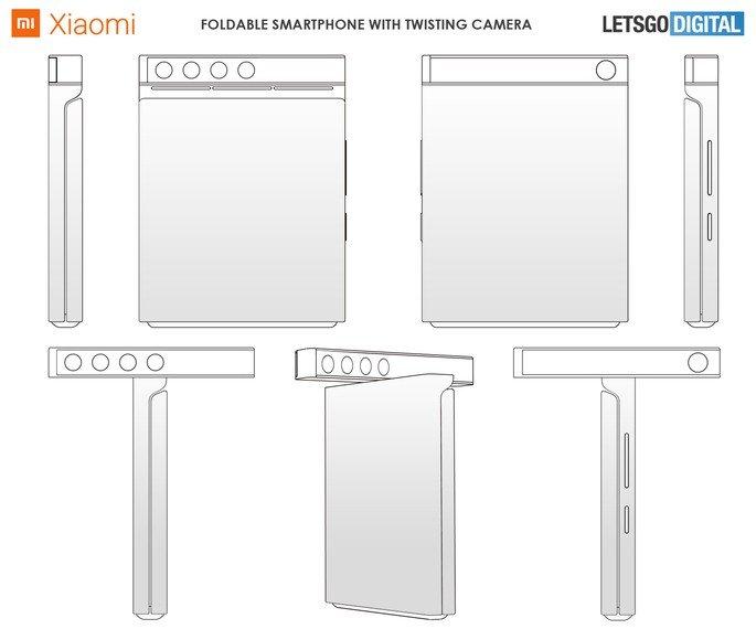 Patente de smartphone dobrável da Xiaomi com câmara rotativa. Crédito: LetsGoDigital