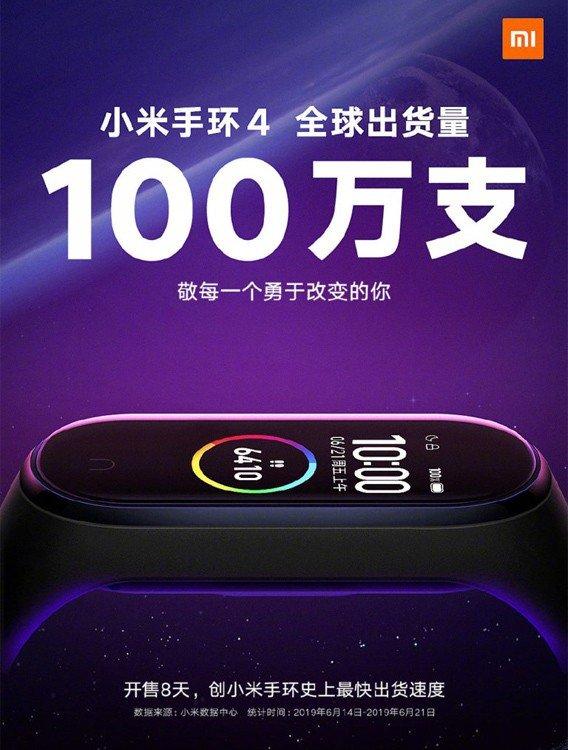 Xiaomi Mi Band 4 1 milhão china