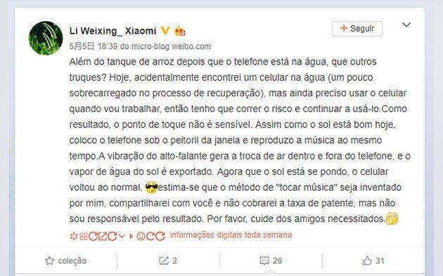 Xiaomi truque água