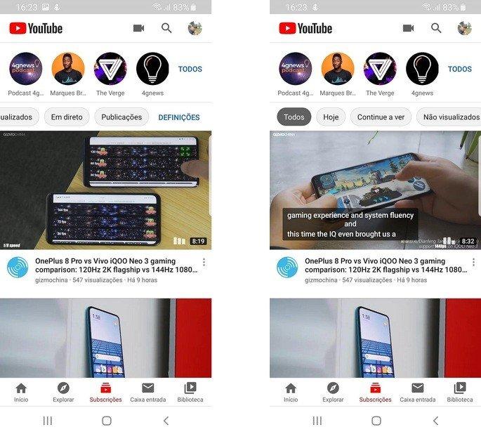Youtube filtros